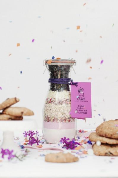 Dinkel Einhorn Cookies mit Glitzerpups